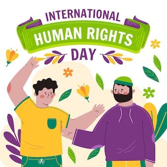 Illustration de la journée internationale des droits de l'homme plate dessinée à la main