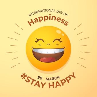 Illustration de la journée internationale du bonheur dégradé avec emoji