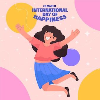 Illustration de la journée internationale du bonheur dessinée à la main