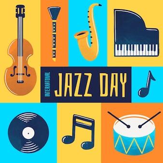 Illustration de la journée internationale du jazz aquarelle