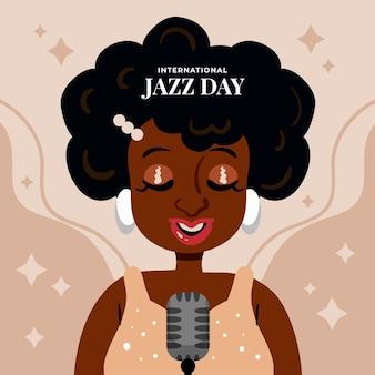 Illustration de la journée internationale du jazz dessiné à la main avec femme chantant