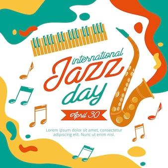 Illustration de la journée internationale du jazz dessinée à la main