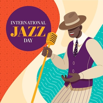 Illustration de la journée internationale du jazz dessinée à la main