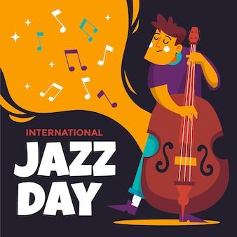 Illustration de la journée internationale du jazz avec homme et basse