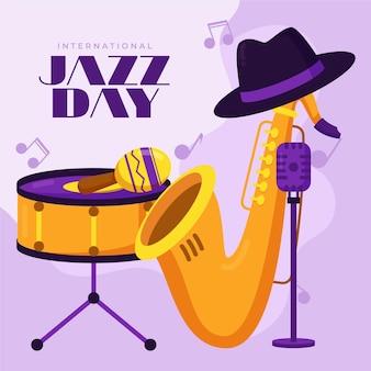 Illustration de la journée internationale du jazz plat