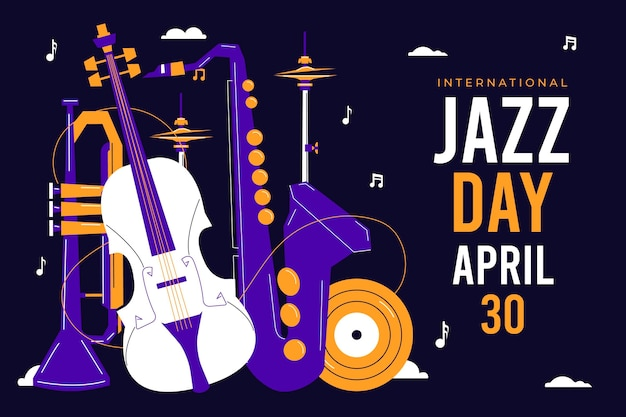 Illustration de la journée internationale du jazz plat