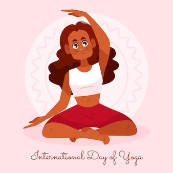 Illustration de la journée internationale du yoga dessinée à la main