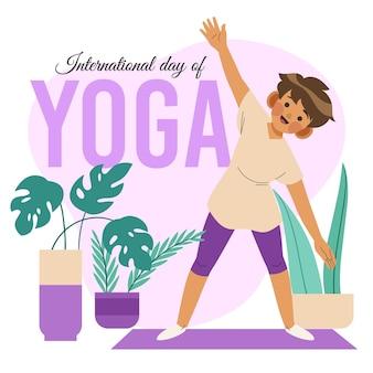 Illustration de la journée internationale du yoga plat bio