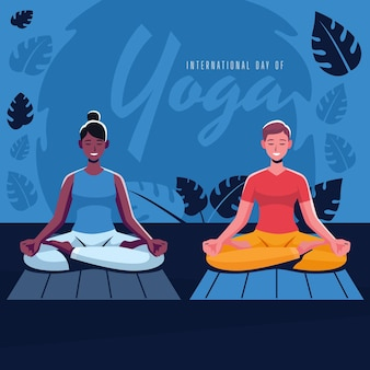 Illustration de la journée internationale du yoga plat bio