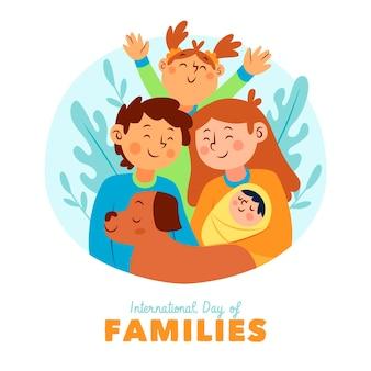 Illustration de la journée internationale des familles dessinée à la main