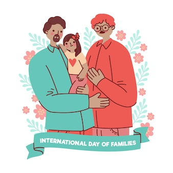 Illustration de la journée internationale des familles dessinée à la main