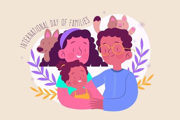 Illustration de la journée internationale des familles plat bio