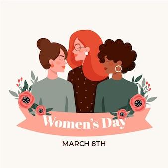 Illustration de la journée internationale de la femme plate