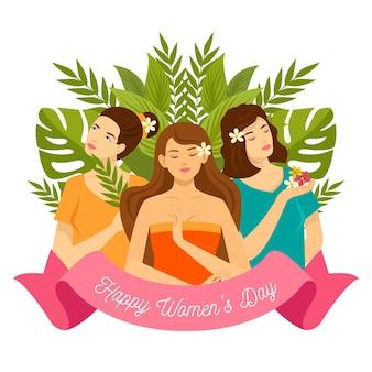 Illustration de la journée internationale des femmes design plat