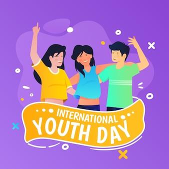 Illustration de la journée internationale de la jeunesse en dégradé