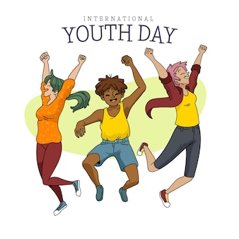 Illustration de la journée internationale de la jeunesse de dessin animé