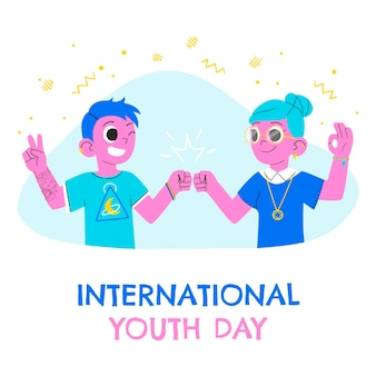 Illustration de la journée internationale de la jeunesse dessinée à la main