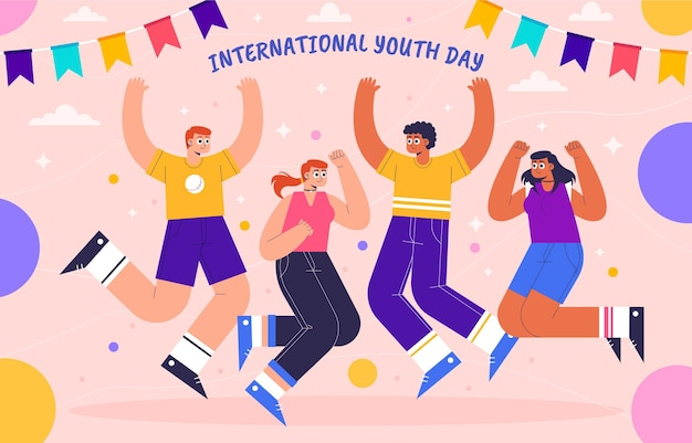Illustration de la journée internationale de la jeunesse plate