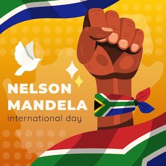 Illustration de la journée internationale de nelson mandela dessinée à la main
