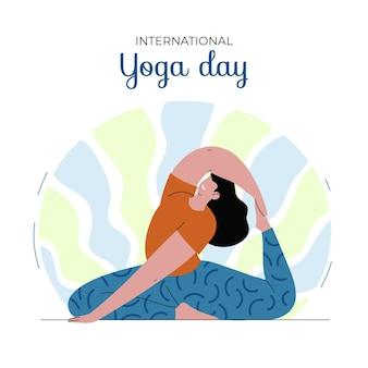 Illustration de la journée internationale plate du yoga