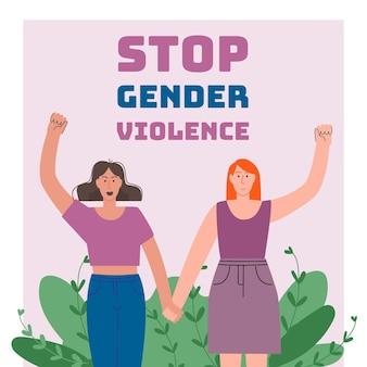 Illustration de la journée internationale pour l'élimination de la violence à l'égard des femmes dessinée à la main