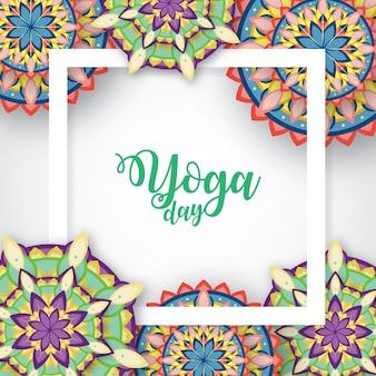 Illustration de journée internationale de yoga avec ornement de mandala