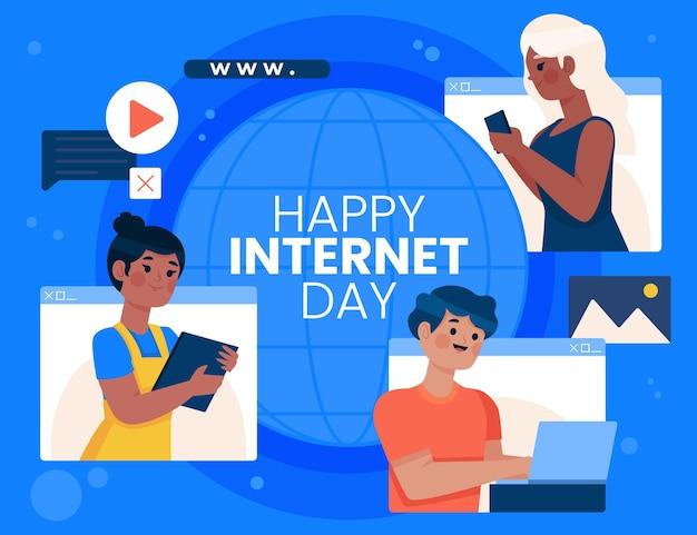 Illustration de la journée internet plat organique