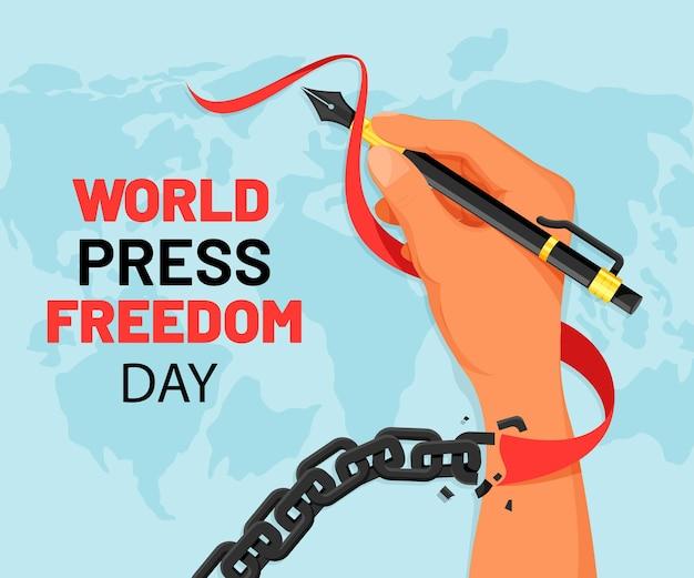 Illustration de la journée de la liberté de la presse dans le monde plat organique