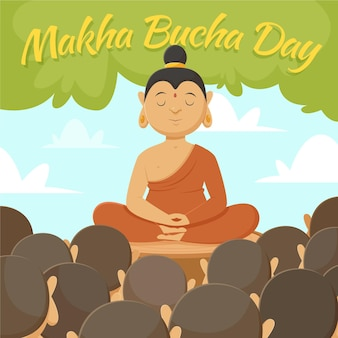 Illustration de la journée makha bucha dessinée à la main