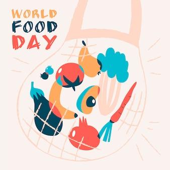 Illustration de la journée mondiale de l'alimentation dessinée à la main avec sac de provisions