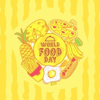 Illustration de la journée mondiale de l'alimentation dessinée à la main