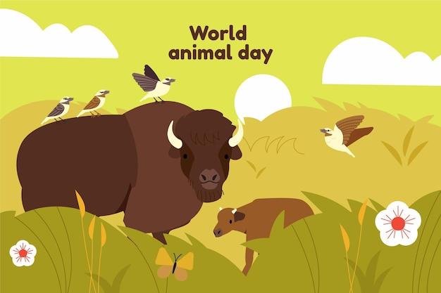 Illustration de la journée mondiale des animaux dessinés à la main