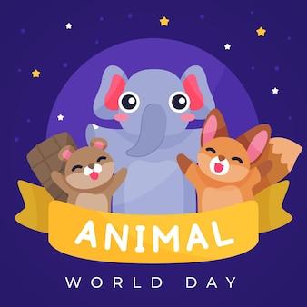 Illustration de la journée mondiale des animaux plats dessinés à la main