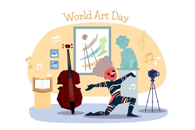 Illustration de la journée mondiale de l'art dessiné à la main
