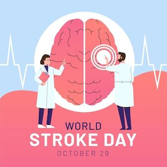 Illustration de la journée mondiale de l'avc plat dessiné à la main