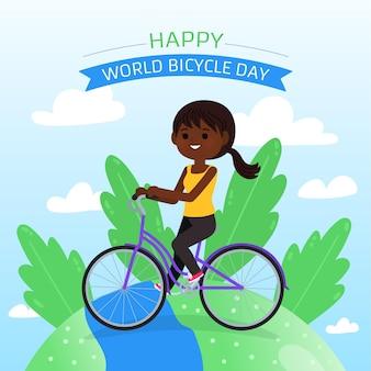 Illustration de la journée mondiale de la bicyclette de dessin animé