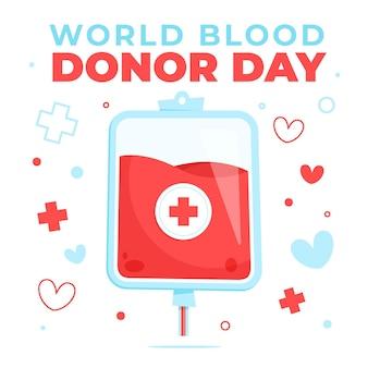 Illustration de la journée mondiale des donneurs de sang de dessin animé