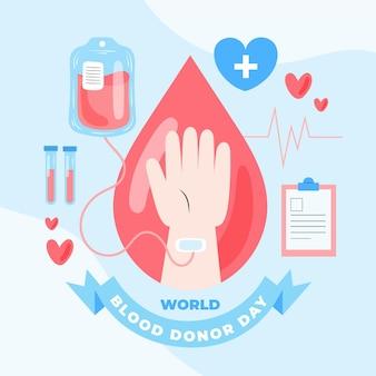 Illustration de la journée mondiale des donneurs de sang dessinés à la main