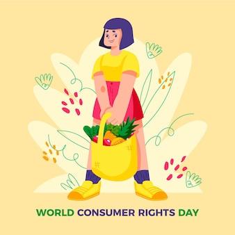 Illustration de la journée mondiale des droits des consommateurs dessinés à la main