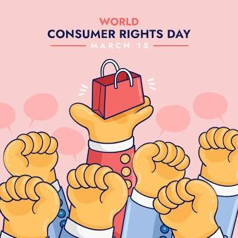 Illustration de la journée mondiale des droits des consommateurs avec les poings et le sac à provisions