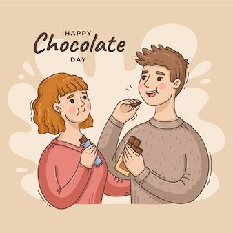 Illustration de la journée mondiale du chocolat dessiné à la main