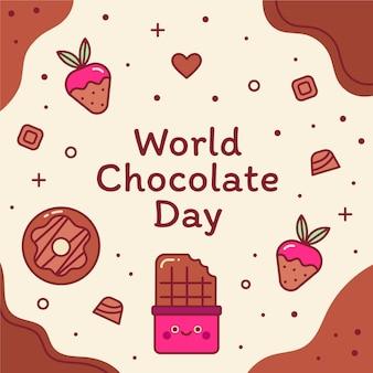 Illustration de la journée mondiale du chocolat plat