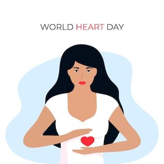 Illustration de la journée mondiale du cœur pour le concept d'amour et de soutien, sensibilisation aux soins de santé avec une fille en forme de cœur.
