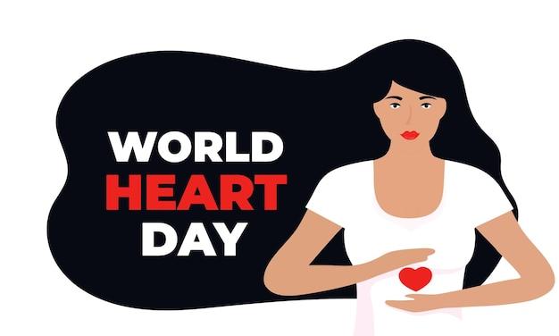 Illustration de la journée mondiale du coeur pour le concept d'amour et de soutien, sensibilisation aux soins de santé avec une fille en forme de coeur.