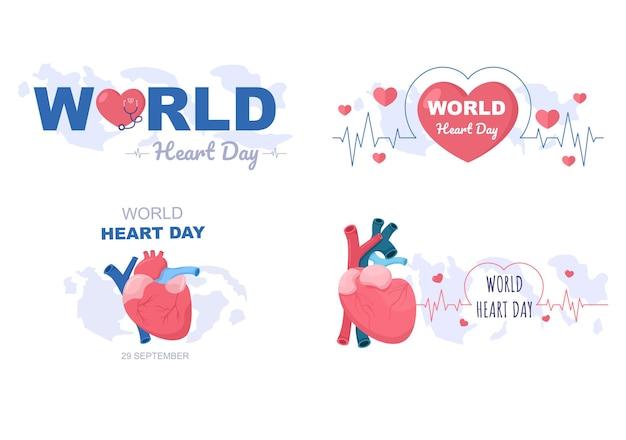 Illustration de la journée mondiale du cœur pour sensibiliser les gens à l'importance de la santé, des soins et de la prévention de diverses maladies. conception plate