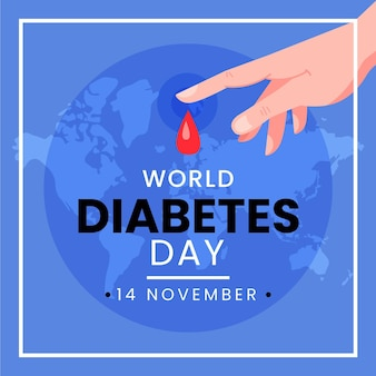 Illustration de la journée mondiale du diabète design plat avec texte