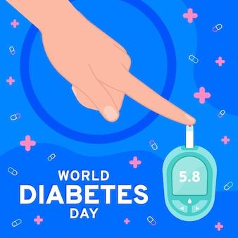 Illustration de la journée mondiale du diabète dessinée à la main