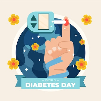 Illustration de la journée mondiale du diabète avec test des doigts