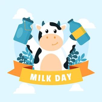Illustration de la journée mondiale du lait plat