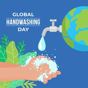 Illustration de la journée mondiale du lavage des mains à plat dessiné à la main